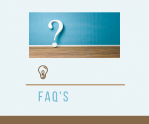 a question mark leaning against a wall, lightbulb icon and the letters FAQ's