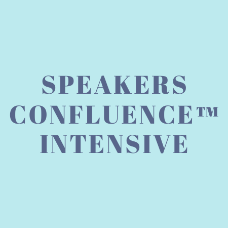 Text only image with the words Speakers Confluence Intensive