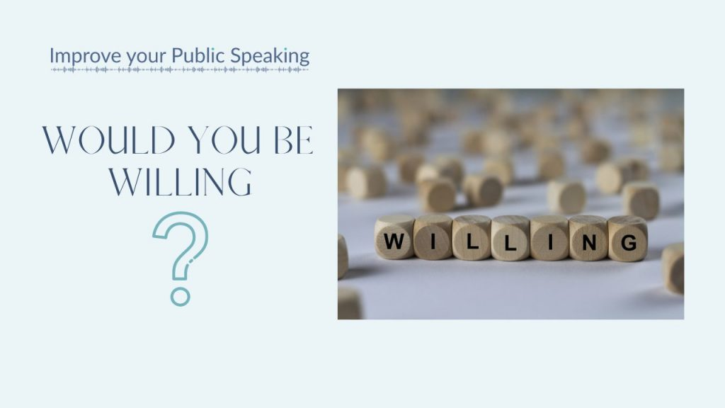 Text 'would you be willing' with a question mark icon and wooden dice spelling out the powerfully persuasive word 'willing'