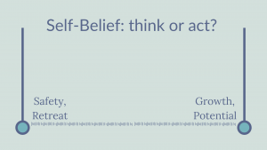 Scale showing safety and retreat vs Growth and potential. Self-belief: think or act?